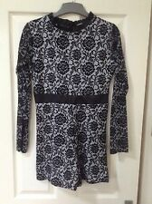 New Look Cameo Rose Velvet Flock Playsuit Size 12 Floral Lace Party High Neck