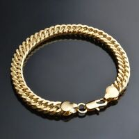 Accessories 6 MM Men Yellow Gold Color Bangle Bracelet Chains Jewelry