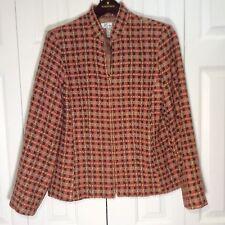Dress Barn Women Tweed Zipper Multi Color Square Design Jacket Size 12