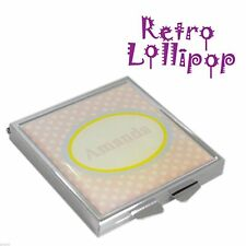 Retro Lollipop Contemporary Personalised Pink Spotty Handbag Mirror XHMRL005