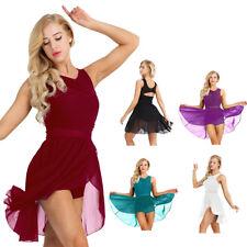 Women Sleeveless Ballet Leotard Dresses Girls Gymnastics Chiffon Dancewear XS-XL