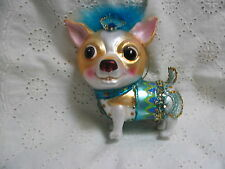 Tan Chihuahua Puppy Dog Glass Ornament Bejeweled Turquoise Green & Boa Feathers