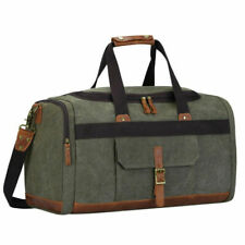 Canvas Travel Tote Leather Trim Shoulder Handbag Duffel Bag Unisex Luggage Large