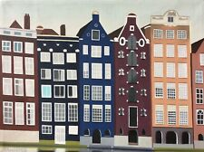 Amsterdam Houses on Damrak Canal original oil painting on canvas framed artwork