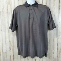 GrandSlam Mens Golf Polo L Black White Striped Short Sleeve Three Button
