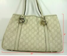 Authentic Gucci GG 232957 Shima GG Twins White Leather Tote Shoulder Bag