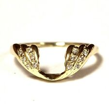 14k yellow gold .12ct SI1 G diamond wrap jacket guard ring 2.1g estate vintage