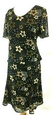 Jacques Vert Top & Skirt UK 22 chiffon Outfit Black Beige Floral Flute Sleeve