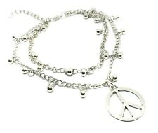 Beaded Anklet Double Chain Foot Jewellery Cnd Ban the Bomb Peace Ankle Bracelet