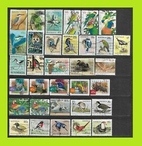 Australian Bird Stamps Collection - 33 Used Stamps