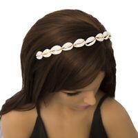 KQ_ HB- HD_ Women Bohemian Cowrie Shell Hair Hoop Beach Headband Hair Band Headw