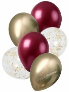 """6 High Quality Burgundy, Chrome Gold, and Confetti Balloons 11"""" Bouquet"""