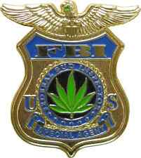 3956 FBI Federal Bud Investigator Novelty Funny Enamel Hat Pin Button Weed Pot