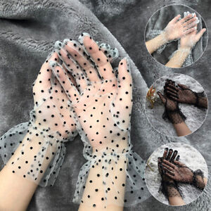 Women Lace Dot Ultra Thin Gloves Summer Mesh Mittens Wedding Xmas Party Access