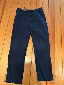 """Wonder Nation cotton dark blue elastic waist pull up inseam 26"""" pants 10-12 H"""