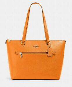 New Coach 79608 Gallery Tote Crossgrain Leather handbag Sunbeam