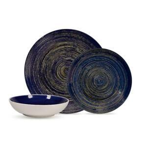 12-Piece Dinnerware Stoneware Set Round Dinner Plates Dish Service For 4
