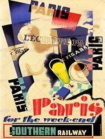 TRAVEL PARIS FRANCE WEEKEND CAFE CULTURE STATUE UK ART PRINT POSTER BB7602B