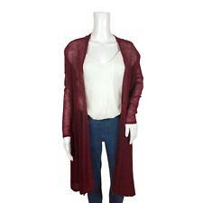 Love by Design Womens Maxi Cardigan Long Duster Sweater Burgundy Open Front XS
