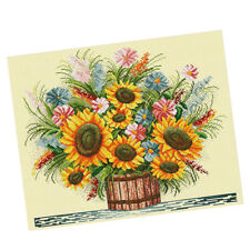 11CT 57x49cm Stamped Cross Stitch Starter Kits Pre-printed Pattern Sunflower