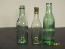 Vintage bottles green lot of 3 including Courvoisier bottle with cap