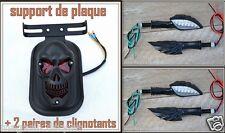 LOT Support de plaque + 2 paires de clignotants Mains de Squelette NOIR Skull