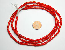 Strand antique Venetian red small tube tile beads white inside