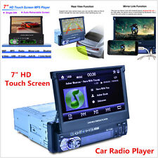 """New 7"""" HD 1 DIN Car Bluetooth MP3 MP5 Player Stereo Rearview FM Radio AUX SD USB"""