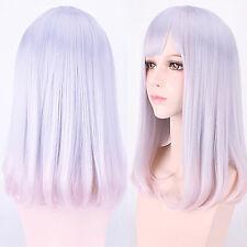 Harajuku Lolita Light Pink Ombre Purple Hair Medium Long Straight Cosplay Wig