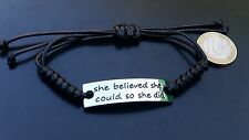 Pulsera de cuero negro She believed she could so she did abalorios pulseras