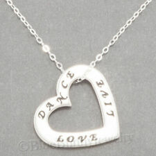 DANCE LOVE LIVE Necklace Dancing heart Charm Pendant 925 STERLING SILVER .925 18