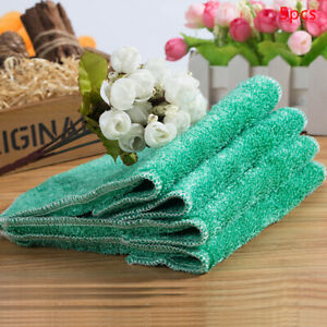 Kitchen Dishcloth Cleaning Cloth Double-layer Thicken Absorbent Bamboo Fiber F1