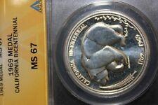 1969 Silver ANACS Certified MS67 California Bicentennial Medal
