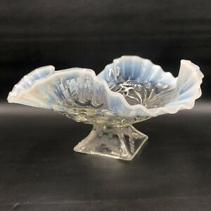 Antique White Opalescent Glass Jefferson Beaded Fan Footed Ruffled Bowl