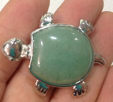 New Natural Green Jade Bead Turtle Gemstone Pendant 18KGP AAA