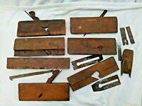 Lot of Vintage Wooden Planes & Parts Woodworking Tools Handplanes