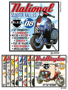 2008 NATIONAL BSRA SCOOTER RALLY PATCHES  SCOOTERBOY SCOOTERIST MOD SKINHEAD