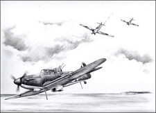 RAF Boulton Paul Defiant print signed by 4 Battle of Britain aircrew veterans