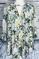 Umgee Women's Small Peasant Blouse Floral 3/4 Bell Sleeves Lace Detail V Neck