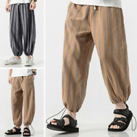 Men Stripe Linen Cotton Loose Pants Beach Drawstring Yoga Casual Slacks Trousers