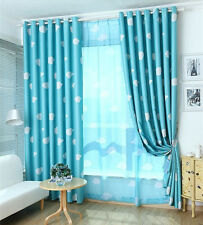Blockout Blackout Eyelet Curtains Blue Drapes Kids Baby Boy's Girl's Room 180cm