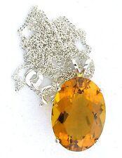 Brandy Quartz Oval 18x13 Gemstone Gem Sterling Silver Pendant 18 Inch Chain