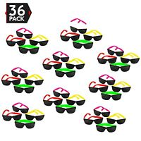 36pk Neon Child Sunglasses Bulk Lot Party 80s Style Retro Eyewear Accessories