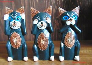 Set of 3 hear speak see no evil wooden cat ornaments Hand carved & painted gift