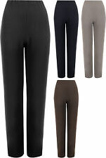 New Plus Size Womens Ribbed Straight Leg Ladies Stretch Trousers Pants 12-26