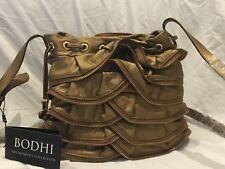 NWT BODHI Bronze Leather Ruffle Zipper Accents Shoulder Handbag