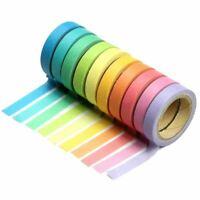 Tape Set 10x Decorative Rainbow Sticky Paper Masking Adhesive Tape Scrapbook 8P8