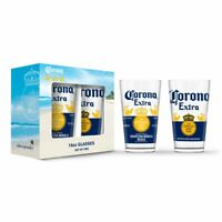 CORONA – EXTRA LABEL PINT GLASSES (16 OZ) (2-PACK) OFFICIALLY LICENSED