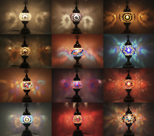 Turkish Moroccan Lamp Colourful Glass Light Desk Table Lamp FREE BULB