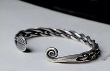 Solid 925 Sterling Silver Mens Open Torque Bangle Cuff Bracelet